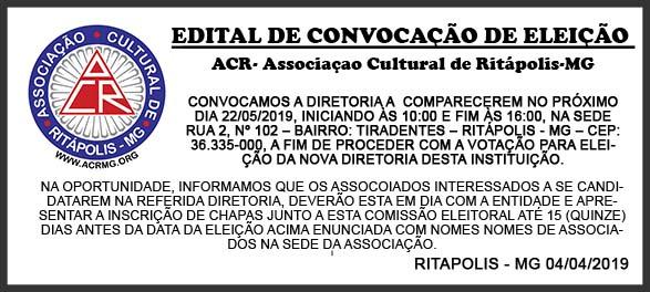 EDITAL DE CONVOCAÇÃO - ACR- RITÁPOLIS